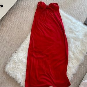 Red  sweetheart neckline strapless maxi dress ❤️